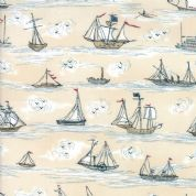 Moda - Ahoy Me Hearties by Janet Clare - 5706 - Sailing Boats on Cream - 1432 14 - Cotton Fabric
